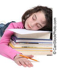 Tired School Girl Doing Her Homework - Elementary School Who...