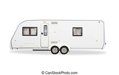 Mobile home  car isolated on white background