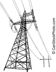 Power lines and pylons - Vector silhouette of Power lines...