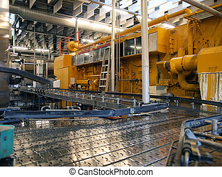 Machinery in a modern factory plant