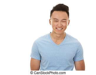Asian man - casual man wearing blue tshirt and jeans on...