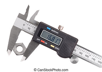 Caliper - Digital caliper with nut isolated on white