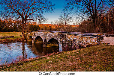 antietam, nacional, Maryland, Puente, burnside, campo de...