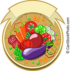 Vegetables sticker with ribbon - Sticker with various...