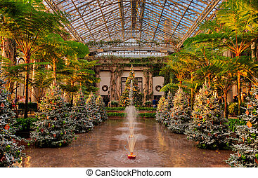 Christmas trees inside the Conservatory at Longwood Gardens,...