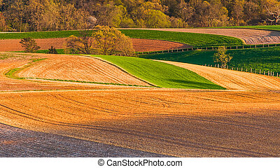 Farm fields and rolling hills of Southern York County,...