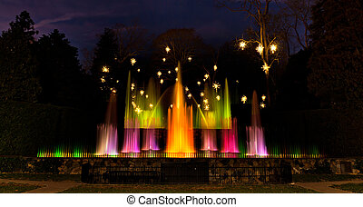 Fountains in Longwood Gardens at night. - Fountains in...