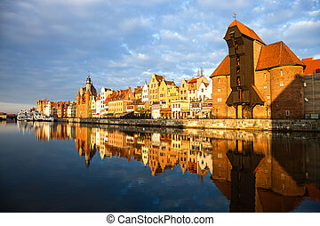 Gdansk in the morning light - Cityscape on the Vistula River...
