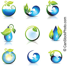 Water waves and drops - Amazing nature symbols Water, leafs,...