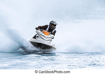 Jet ski - Backlit jet ski with water spray