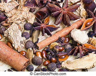 different spices for mulled wine - top view of different...