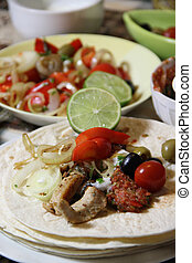 Mexican food with tortillas and nachos - Mexican food with...