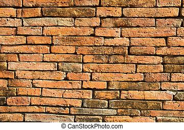 Old brick wall ruins
