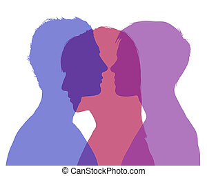 mans infidelity - silhouette of young man and woman looking...