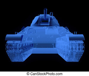 X-ray version of soviet t34 tank isolated on black