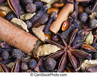 background from spices for mulled wine close up