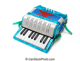 Accordion toy - small blue children accordion toy isolated...