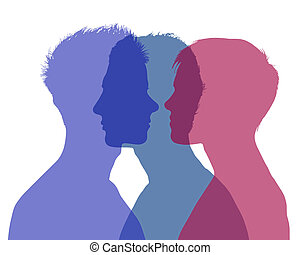 woman's infidelity - silhouette of young man and woman...
