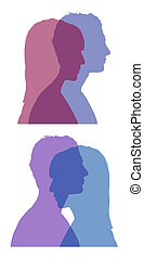 man and woman faces silhouettes set 1 - set of two...