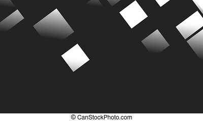 White squares and rectangles are slowly turned on a black...