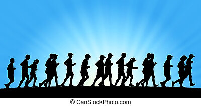 big group of people running on blue sky background -...
