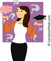 Young Woman Worries about Student Loans - A young female...
