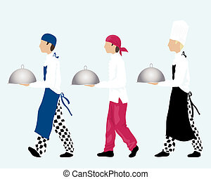 chefs - an illustration of three chefs carrying trays...