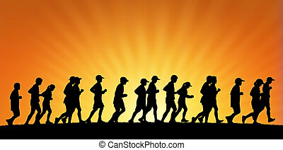 big group of people running on sunset background - realistic...