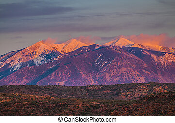 La Sal Mountains at Sunset