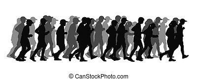 big group of people running black silhouette - silhouette of...