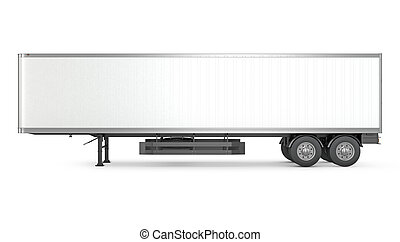 Blank white parked semi trailer, side view, isolated on...