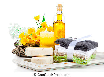 two bars of soap and toiletries for relaxation, isolated on...