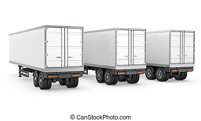 Three blank white parked semi trailers, isolated on white...
