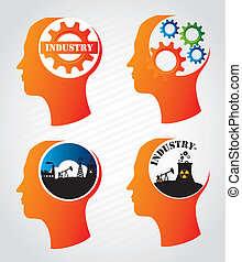 industry mind over lineal background vector illustration