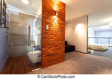 Spacious apartment - Bathroom and bedroom in a modern loft