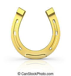 Single scratched golden horseshoe isolated on white...