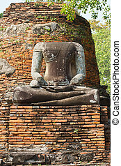 Headless buddha ruins in Wat Phra Sri Sanphet at Ayutthaya,...