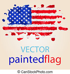 Flag of USA painted with watercolors - Flag of United States...