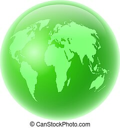 green globe - Green globe featuring map of the whole world...