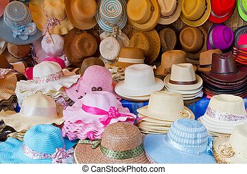 Fashion hats in the market