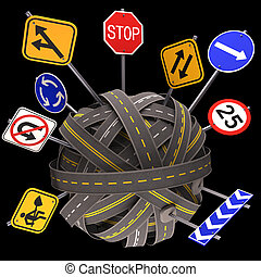 Road Sign Mess Way - Road asphalt tangled and messy. Concept...