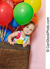 birthday girl - birthday one year old girl with baloons
