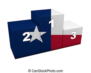 Texas Flag Podium - Texan top positions flag podium. 3d...