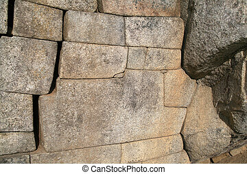 Ancient Inca wall, Machu Peru - The famous 12-angled stone...