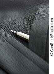 Detail of ink pen in pocket