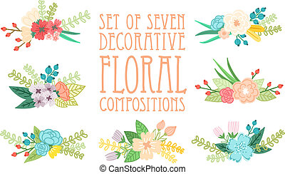 Set of 7 floral compositions, decorative vector illustration