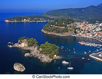 Aerial view on Parga Greece - Aerial view on the village of...
