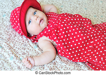 ?ute  baby - ?ute baby wearing dotted dress and hat