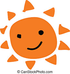 Happy sun - orange happy sun on white background
