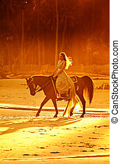 medieval woman riding horse - woman in medieval dress riding...